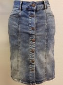 Soyaconcept 14194-2140 Shadidenim Power 5 jeans skirt buttonfly pockets blue skön stretchig jeanskjol gylfknäppning fickor blå