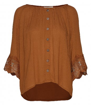 Cream 10604975-61991 Bea button blouse buttons lace bronze blus knappar spets brons