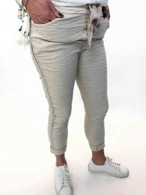 Fashion by K 500262 Jeans tiejeans stretchy rivets jeans knyt resår nitar beige