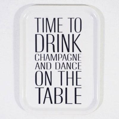 Mellow Design träbricka vit time to drink champagne