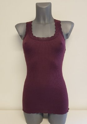 Soyaconcept 21960-558 sarona 1 dark plum tank top silk lace linne stretch spets mörk plommon